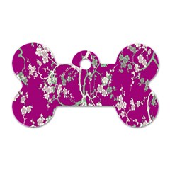 Floral Pattern Background Dog Tag Bone (Two Sides)