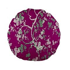Floral Pattern Background Standard 15  Premium Round Cushions