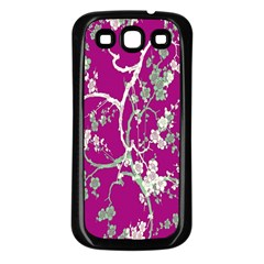 Floral Pattern Background Samsung Galaxy S3 Back Case (Black)