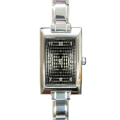 Interwoven Grid Pattern In Green Rectangle Italian Charm Watch