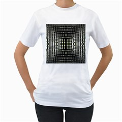 Interwoven Grid Pattern In Green Women s T Shirt (white) (two Sided)
