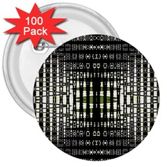 Interwoven Grid Pattern In Green 3  Buttons (100 pack)