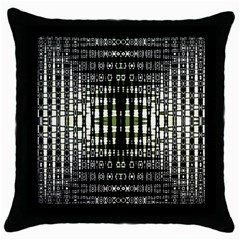 Interwoven Grid Pattern In Green Throw Pillow Case (black)