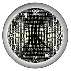 Interwoven Grid Pattern In Green Wall Clocks (Silver)