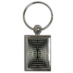 Interwoven Grid Pattern In Green Key Chains (Rectangle)