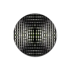 Interwoven Grid Pattern In Green Rubber Round Coaster (4 pack)