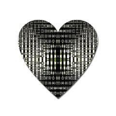 Interwoven Grid Pattern In Green Heart Magnet