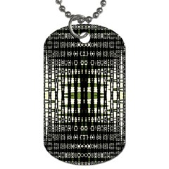 Interwoven Grid Pattern In Green Dog Tag (Two Sides)