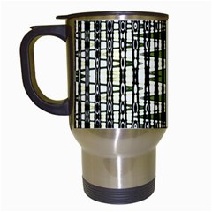Interwoven Grid Pattern In Green Travel Mugs (White)