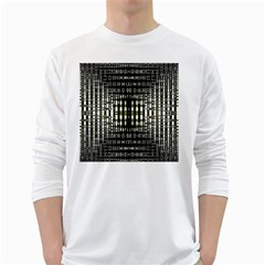 Interwoven Grid Pattern In Green White Long Sleeve T Shirts