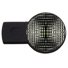 Interwoven Grid Pattern In Green USB Flash Drive Round (4 GB)