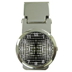 Interwoven Grid Pattern In Green Money Clip Watches