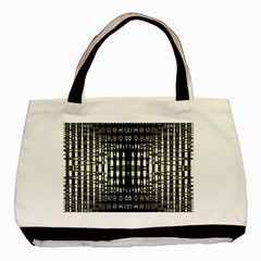 Interwoven Grid Pattern In Green Basic Tote Bag
