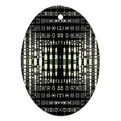 Interwoven Grid Pattern In Green Oval Ornament (Two Sides)