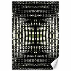 Interwoven Grid Pattern In Green Canvas 12  x 18