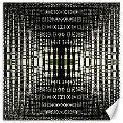 Interwoven Grid Pattern In Green Canvas 16  x 16