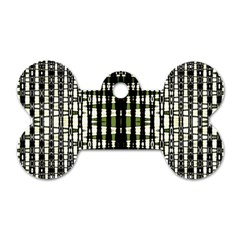 Interwoven Grid Pattern In Green Dog Tag Bone (one Side)