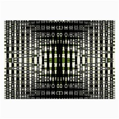 Interwoven Grid Pattern In Green Large Glasses Cloth