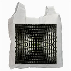 Interwoven Grid Pattern In Green Recycle Bag (Two Side)