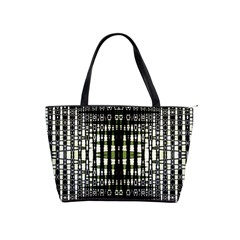 Interwoven Grid Pattern In Green Shoulder Handbags