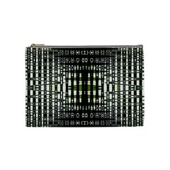 Interwoven Grid Pattern In Green Cosmetic Bag (Medium)