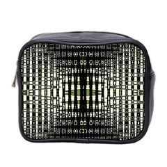 Interwoven Grid Pattern In Green Mini Toiletries Bag 2-Side