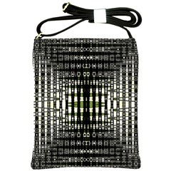 Interwoven Grid Pattern In Green Shoulder Sling Bags