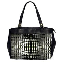 Interwoven Grid Pattern In Green Office Handbags (2 Sides)