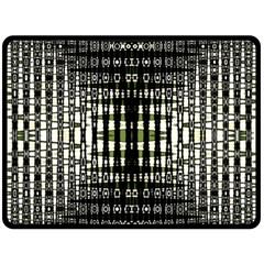 Interwoven Grid Pattern In Green Fleece Blanket (Large)