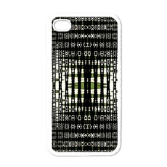 Interwoven Grid Pattern In Green Apple iPhone 4 Case (White)
