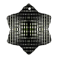 Interwoven Grid Pattern In Green Snowflake Ornament (Two Sides)