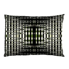 Interwoven Grid Pattern In Green Pillow Case (Two Sides)