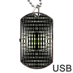 Interwoven Grid Pattern In Green Dog Tag USB Flash (Two Sides)