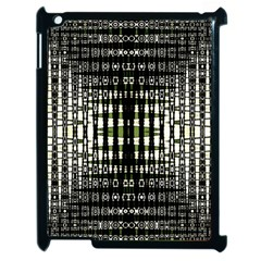 Interwoven Grid Pattern In Green Apple iPad 2 Case (Black)