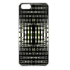Interwoven Grid Pattern In Green Apple Iphone 5 Seamless Case (white)