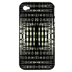 Interwoven Grid Pattern In Green Apple iPhone 4/4S Hardshell Case (PC+Silicone)