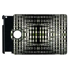 Interwoven Grid Pattern In Green Apple iPad 2 Flip 360 Case