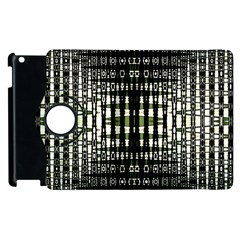 Interwoven Grid Pattern In Green Apple iPad 3/4 Flip 360 Case