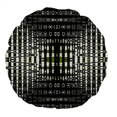 Interwoven Grid Pattern In Green Large 18  Premium Round Cushions