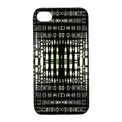 Interwoven Grid Pattern In Green Apple iPhone 4/4S Hardshell Case with Stand