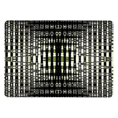 Interwoven Grid Pattern In Green Samsung Galaxy Tab 10.1  P7500 Flip Case