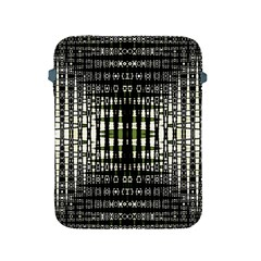Interwoven Grid Pattern In Green Apple iPad 2/3/4 Protective Soft Cases
