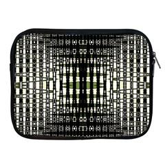 Interwoven Grid Pattern In Green Apple iPad 2/3/4 Zipper Cases