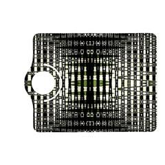 Interwoven Grid Pattern In Green Kindle Fire HD (2013) Flip 360 Case