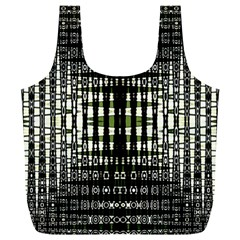 Interwoven Grid Pattern In Green Full Print Recycle Bags (L)