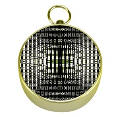 Interwoven Grid Pattern In Green Gold Compasses
