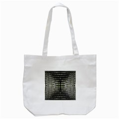 Interwoven Grid Pattern In Green Tote Bag (White)