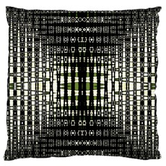 Interwoven Grid Pattern In Green Large Flano Cushion Case (Two Sides)