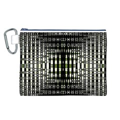 Interwoven Grid Pattern In Green Canvas Cosmetic Bag (L)