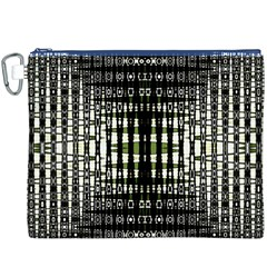 Interwoven Grid Pattern In Green Canvas Cosmetic Bag (xxxl)